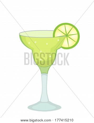 Cocktail glass for Margarita and tequila with lime slice icon flat, cartoon style. Drink isolated on white background. Alcoholic cocktail. Vector illustration
