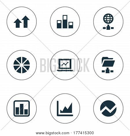 Vector Illustration Set Of Simple Information Icons. Elements Pie Chart, Increase Graph, Digital Documnet And Other Synonyms Pie, Presentation And Diagram.