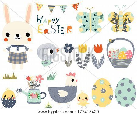 Happy Easter fun vector set with cute animals - bunny peeps and butterflies for greeting cards invitations and kids projects.