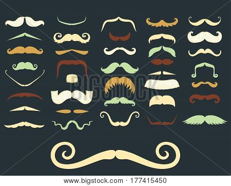 Silhouette vector mustache hair hipster curly collection beard barber and gentleman symbol fashion adult human facial gave vector illustration. Cartoon person mask variation design.