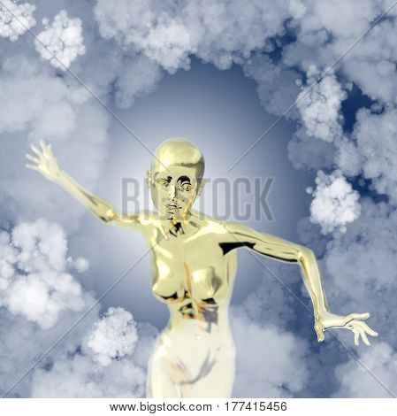Slim attractive sportswoman made of gold flying in the air full of clouds over blue background. Fantasy fairy virtual reality 3d illustration.
