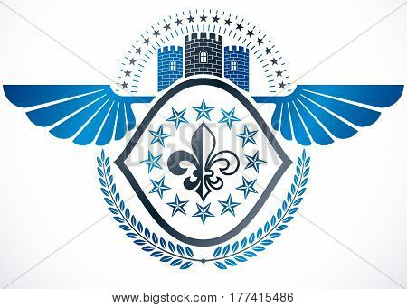 Heraldic sign created with vector vintage elements.