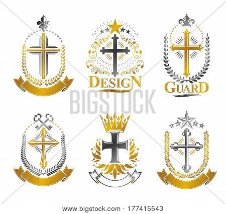 Crosses Of Christianity Emblems Set. Heraldic Vector Design Elements Collection. Retro Style Label,