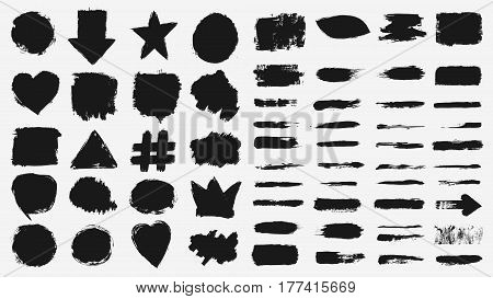 Set of grunge brush strokes. Vector illustration of black grunge brushstrokes and paint stains collection over white background for your design