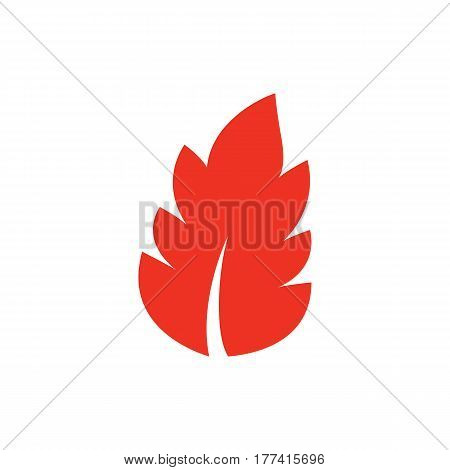 Red leaf icon in flat style. Isolated leaf icon on white background for use in variety of projects. Minimal vector leaf icon for web sites and apps.