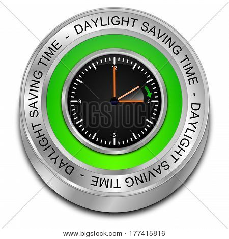 green Daylight saving time button - 3D illustration