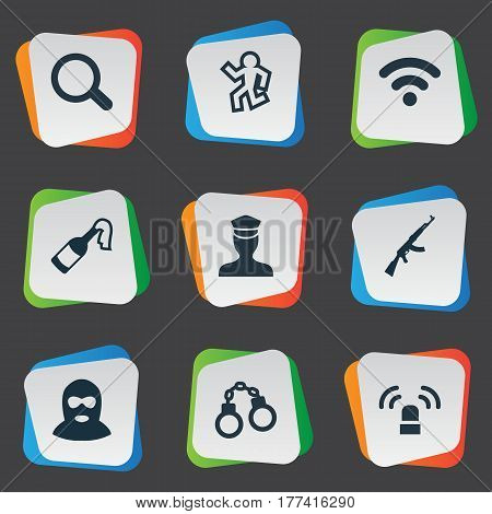 Vector Illustration Set Of Simple Police Icons. Elements Dead Man, Lock, Internet And Other Synonyms Cocktail, Solider And Policeman.