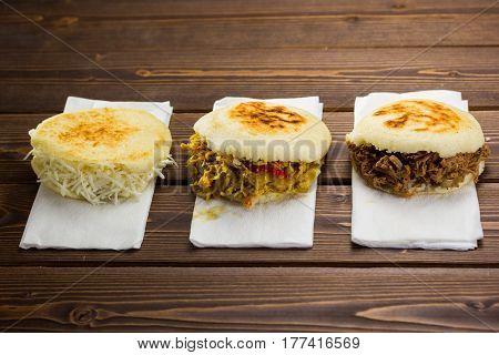 Venezuelan typical food Arepa, Three different types of arepas