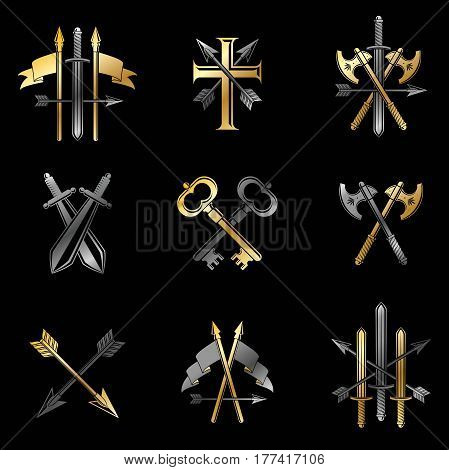 Vintage Weapon Emblems Set. Heraldic Coat Of Arms, Vintage Vector Emblems Collection.