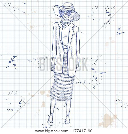 Vector sketch of female model with cats head wearing fringed skirt, top, jacket, scarf, hat on a notebook page.