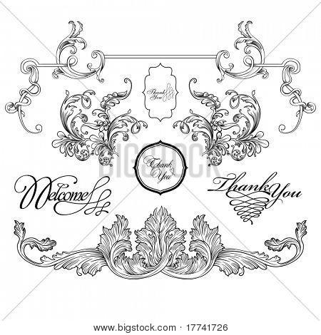 vintage frame designs set , vector