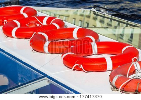Several Red Lifebuoys