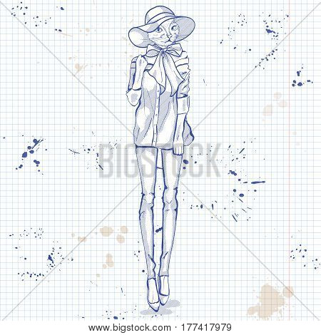 Vector sketch of female model with cats head wearing denim skirt, denim jacket, top, shoes, turban on a notebook page.