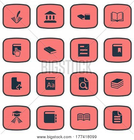 Vector Illustration Set Of Simple Books Icons. Elements Opened Book, Pile, Cover And Other Synonyms School, Alphabet And Dictionary.