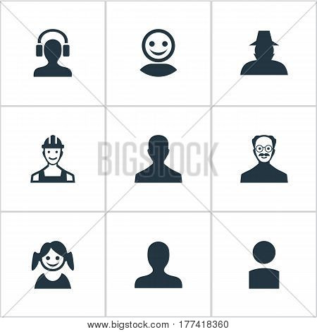 Vector Illustration Set Of Simple Avatar Icons. Elements Proletarian, Agent, Male With Headphone And Other Synonyms Detective, User And Small.
