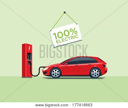 Electric Car Charging At The Charging Station