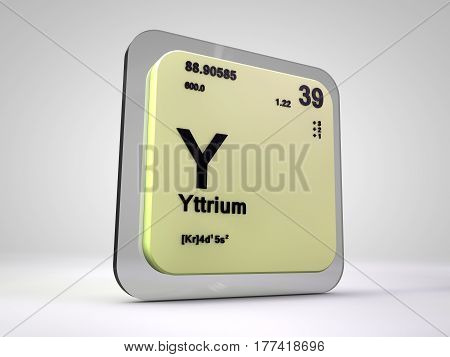 Yttrium - Y - chemical element periodic table 3d render