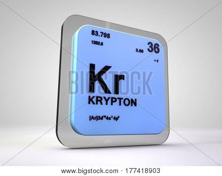 Krypton - Kr - chemical element periodic table 3d render