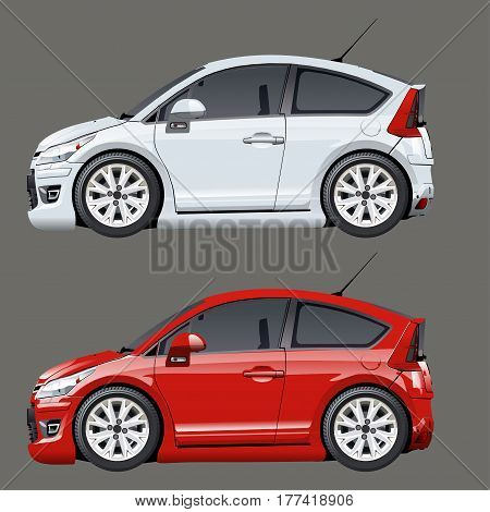 Vector cartoon cars isolated on gray. Available EPS-10 separated by groups and layers with transparency effects for one-click repaint