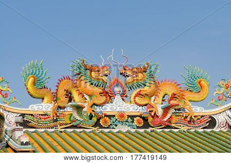 Chinese New Year.Asia culture concept - Roof with beautiful decoration of famous heritage landmark the traditional old oriental Chinese temple lungshan in Taipei Taiwan