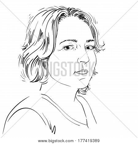 Hand-drawn portrait of white-skin pensive woman with short hair face emotions theme illustration. Beautiful lady posing on white background. Caucasian type of person.