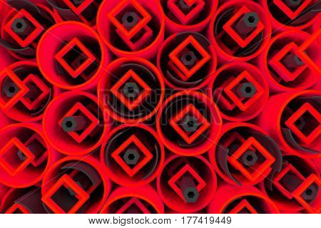 Pattern Of Colored Tubes, Repeated Square Elements, Black Hexagons And Surfaces