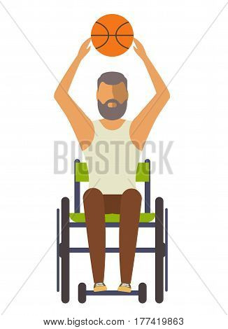 Young disabled man on wheelchair with ball vector illustration. Wheelchair athlete game in basketball. Disabled active lifestyle concept, sport competition for persons with disabilities in flat design