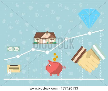 Investment in securities vector illustration. Financial growth, securities market, smart investment, strategic management for marketable securities, financial analysis and business planning