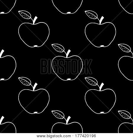 Monochrome cartoon apple pattern with hand drawn fruits. Cute vector black and white apple pattern. Seamless doodle apple pattern for fabric, wallpapers, wrapping paper, cards and web backgrounds.