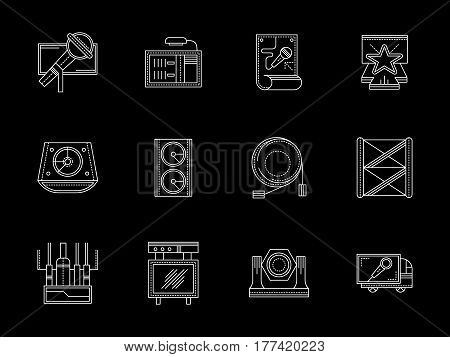 Stage lights and sound equipment for festival, entertainment events and concert. Speakers, spotlights, truss system and other elements. Set of flat white line design vector icons on black.