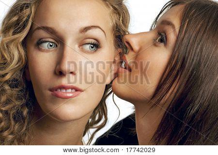 Two pretty  girlfriends sharing their secrets, studio shot