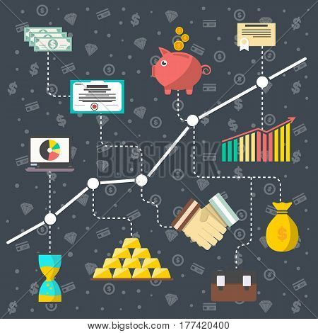 Investment in securities vector illustration. Financial growth, stock market trading, smart investment, strategic management for marketable securities, financial analysis and business planning