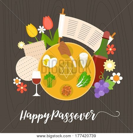 happy passover with seder plate, wine, matzah on brown background, flat design vector