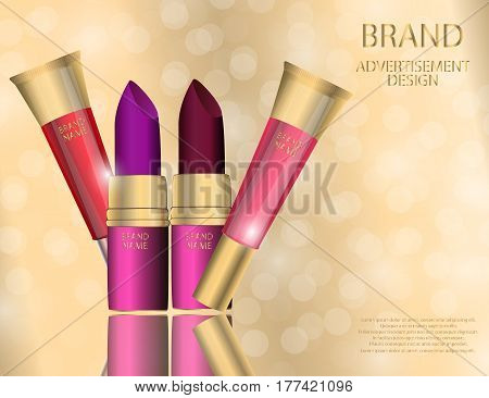 Glamorous Set of tubes with colour lipstick or balm on the sparkling effects background. Mock-up 3D Realistic Vector illustration for design template