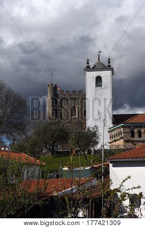 Santa Maria do Castelo Church and castle in the background. Braganca Braganca District Norte Region Portugal Europe