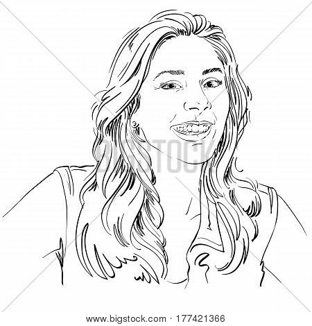 Monochrome vector hand-drawn image happy smiling young woman. Black and white illustration of glad or jolly girl with beautiful long wavy hair.