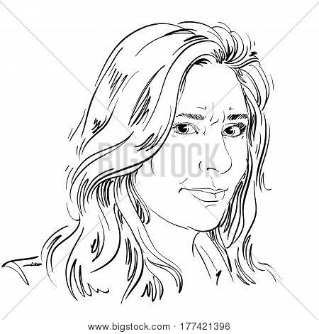 Vector portrait of irate woman illustration of good-looking but angry female. Person emotional face expression.