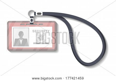 Blank plastic identification card with lanyard template vector illustration isolated on white background. Blank plastic id badge, name tag holder with pin ribbon