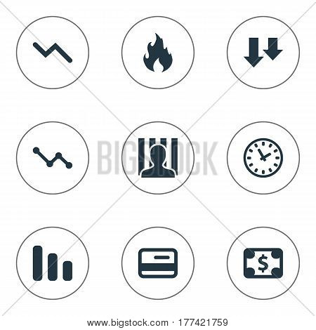 Vector Illustration Set Of Simple Situation Icons. Elements Penitentiary, Line Chart, Descending And Other Synonyms Jailer, Time And Clock.