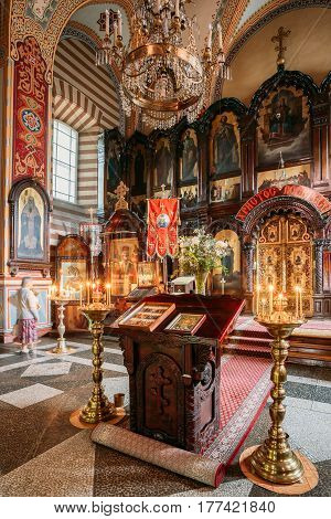 Vilnius, Lithuania - July 04, 2016: The Lectern Or Analogion With Two Icons Placed For Veneration By The Faithful In Orthodox Church Of St.Nicholas.