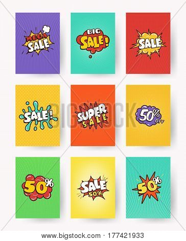 Collection advertising banner, flyer, card. Set of promotional labels with lettering sale, discount. pop art, comic style vector illustration.