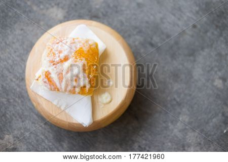 Toasted bread with butter and sprinkle with sugar on wood tray