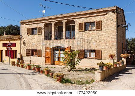 View of the old rural house. Village Sant-Esteve-de-Guialbes (San Esteban de Guialbes), province Girona, Spain