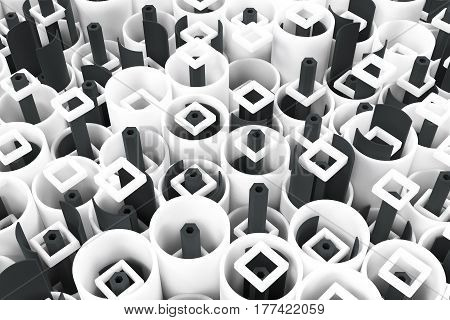 Pattern Of White Tubes, Repeated Square Elements, Black Hexagons And Surfaces