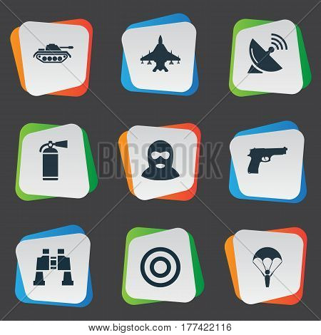 Vector Illustration Set Of Simple Battle Icons. Elements Target, Pistol, Binoculars And Other Synonyms Target, Machine And Telescope.