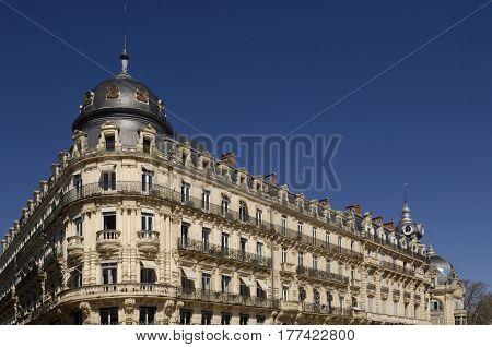 Building of Place de la Comédie in Montpellier France