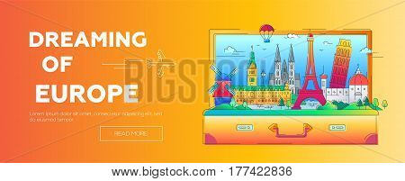 Dreaming of Europe - vector illustration of flat design web page banner composition with world famous landmarks icons in a suitcase - Eiffel, Pisa tower, windmill, Cologne cathedral