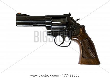 4 inch .38 Caliber Revolver Pistol Loaded Cylinder Gun Barrel Close Up With Clipping Path
