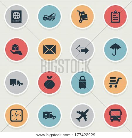 Vector Illustration Set Of Simple Carting Icons. Elements Opposite Directions, Pushcart, Passport And Other Synonyms Trade, Directions And Truck.
