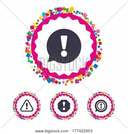 Web buttons with confetti pieces. Attention icons. Exclamation speech bubble symbols. Caution signs. Bright stylish design. Vector